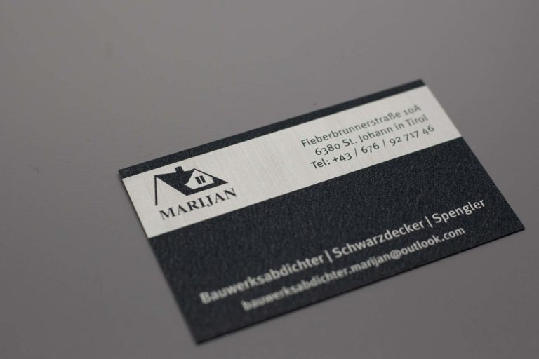 aluminium Visitenkarte vorne Marijan